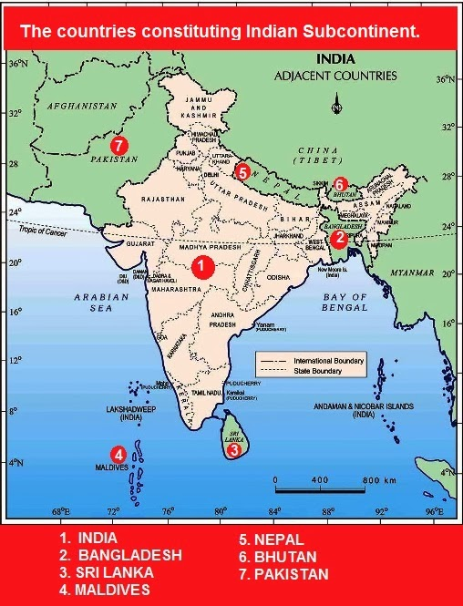 The countries constituting Indian Subcontinent.