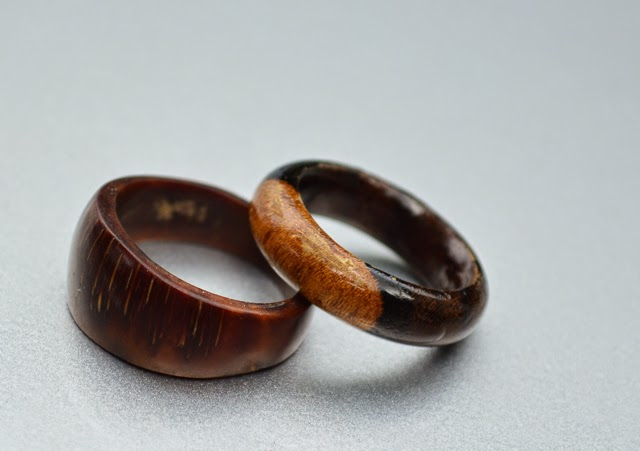 His and hers wooden hand carved rings