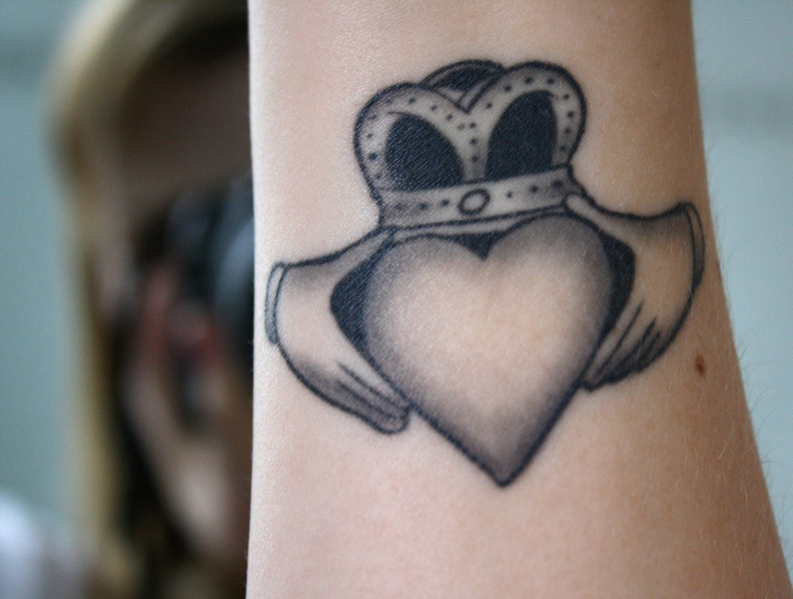 Claddagh tattoo on my inner right wrist.
