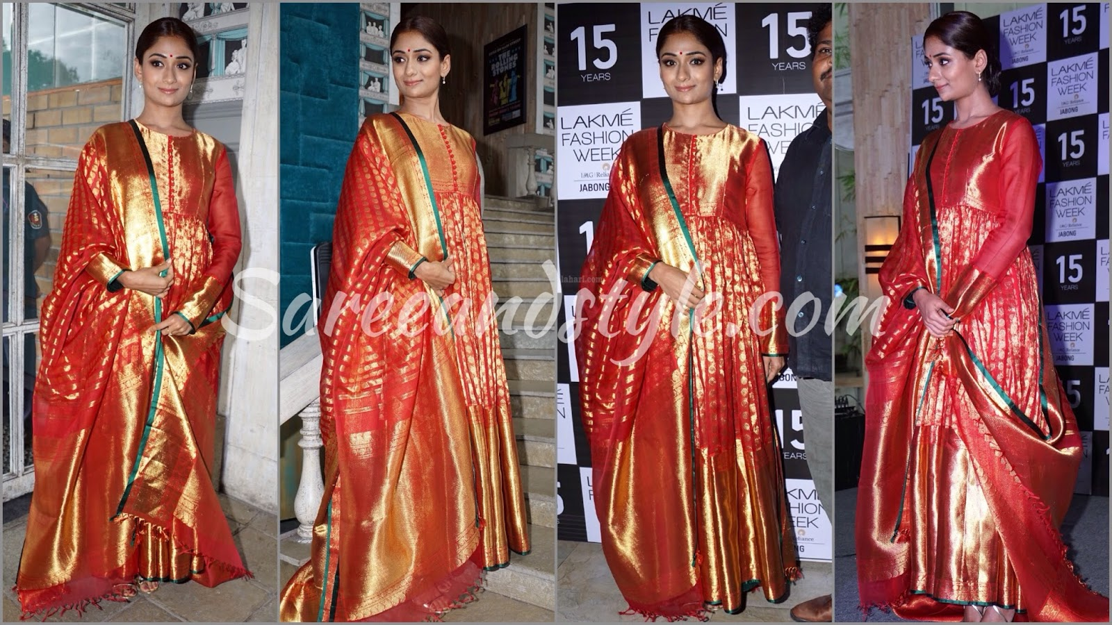 Gaurang Shah Red Kanjeevaram Silk Anarkali - Style and Saree