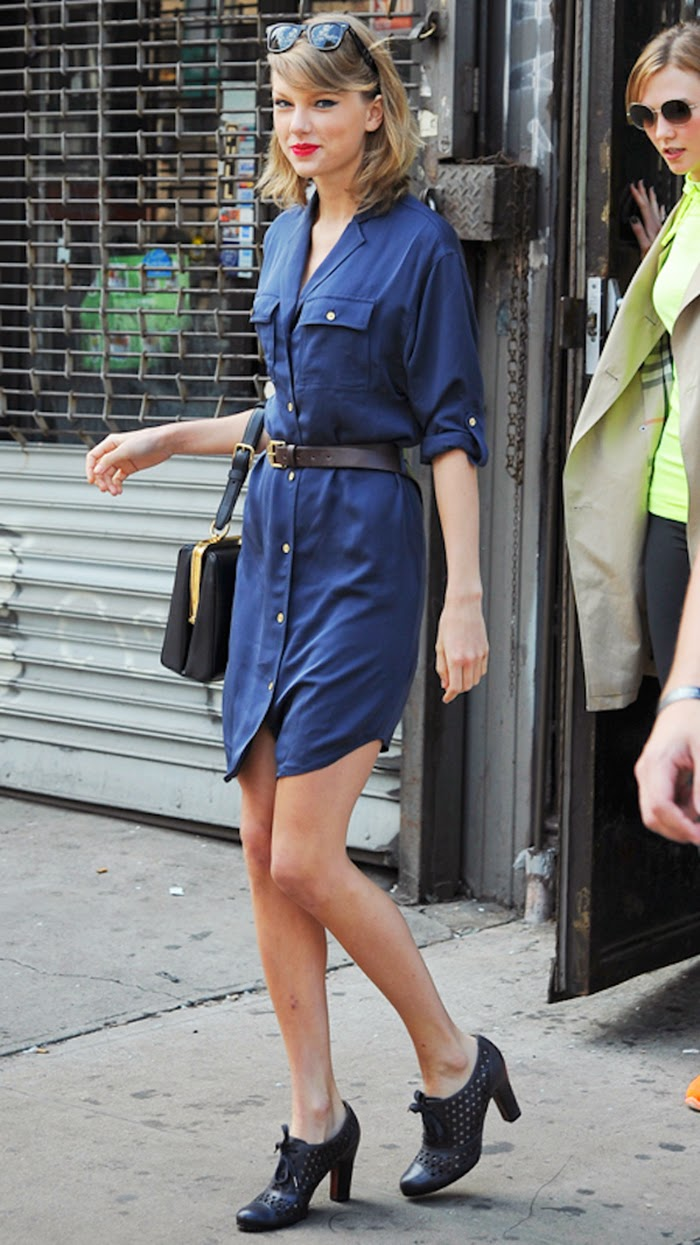 Taylor Swift Street Style - Really Cute in Belted Shirt Dress