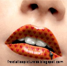 Temporary Lip Tattoo   Orange Hearts with BCR  Buy Jewellery