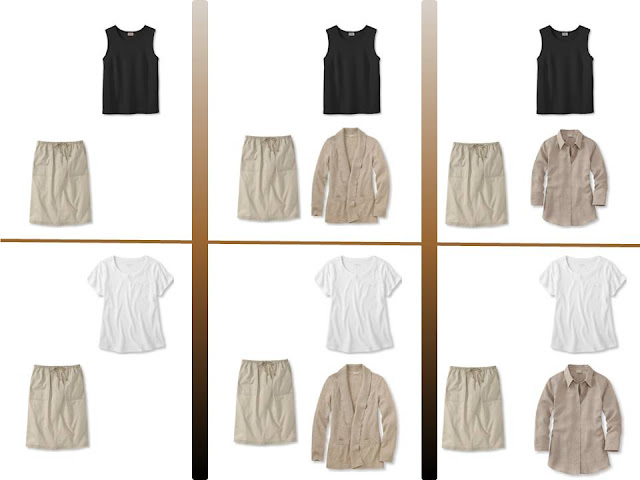 """Six outfits with a khaki skirt and """"Whatever's Clean"""" tops"""