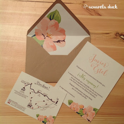 invitación de boda con mapa