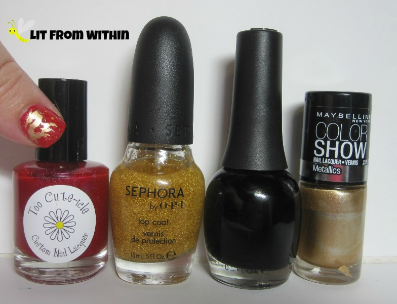Bottle shot:  Too Cute-icle Lifeguard, SOPI It's Real 18k topcoat, Finger Paints Black Expressionism, and Maybelline Bold Gold.