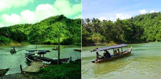 Perahu menuju Curug Cikaso Sukabumi