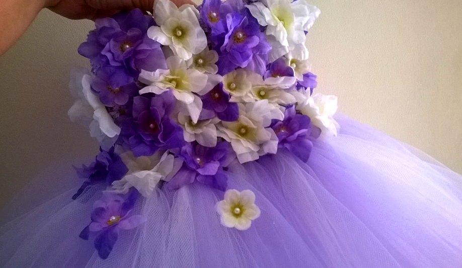 Mis Vestiditos de Cuento Hadas: Vestido Tutu de Flores Morado y blanco