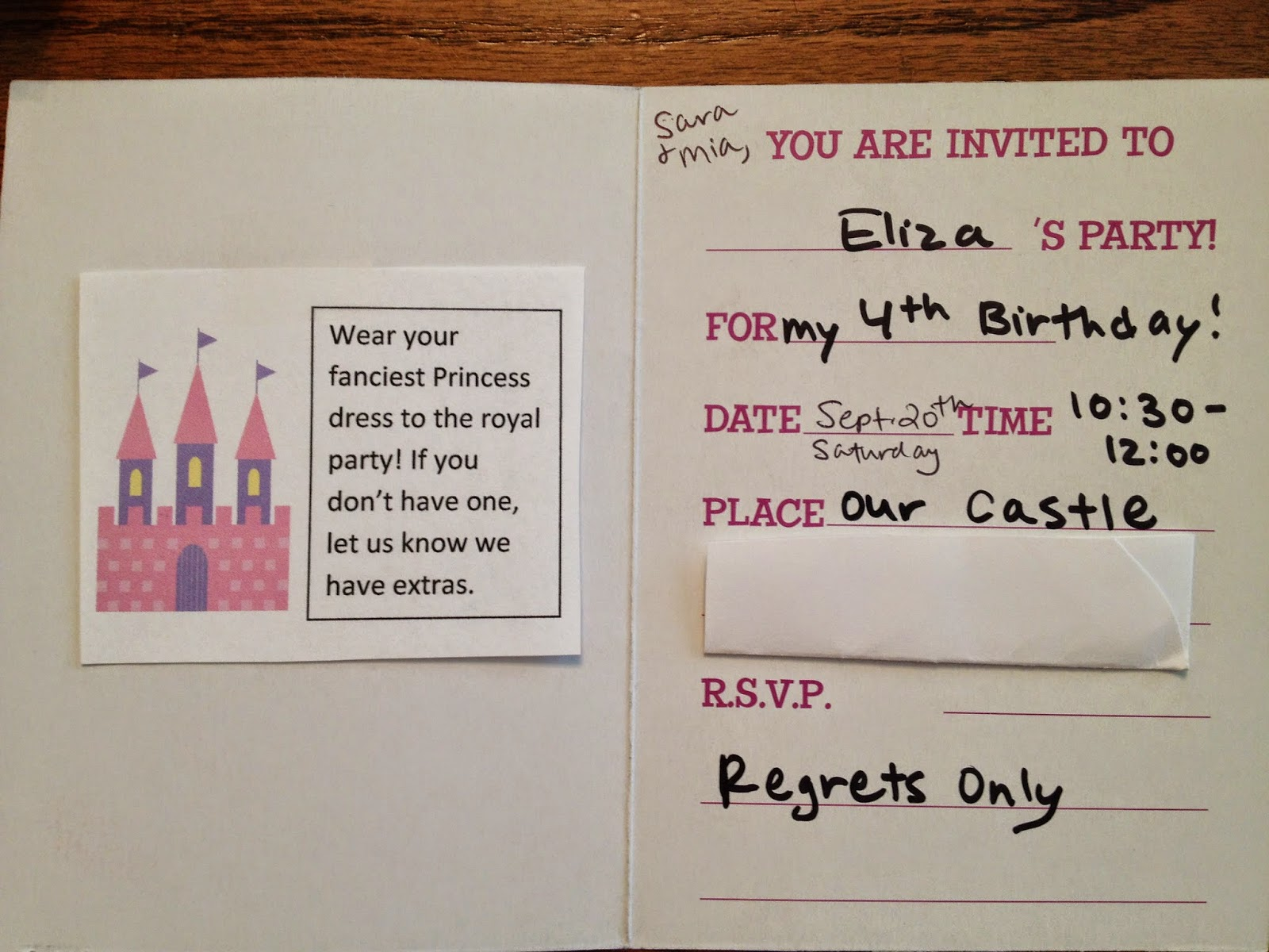 My Daughter Wanted A Princess Themed Party We Bought Pack Of 1 Invitations And I Hand Wrote Everything In Plus Included Little Insert About What