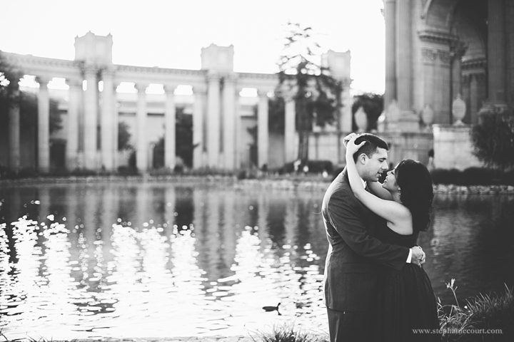 """engagement photos at the Palace of Fine Arts"""