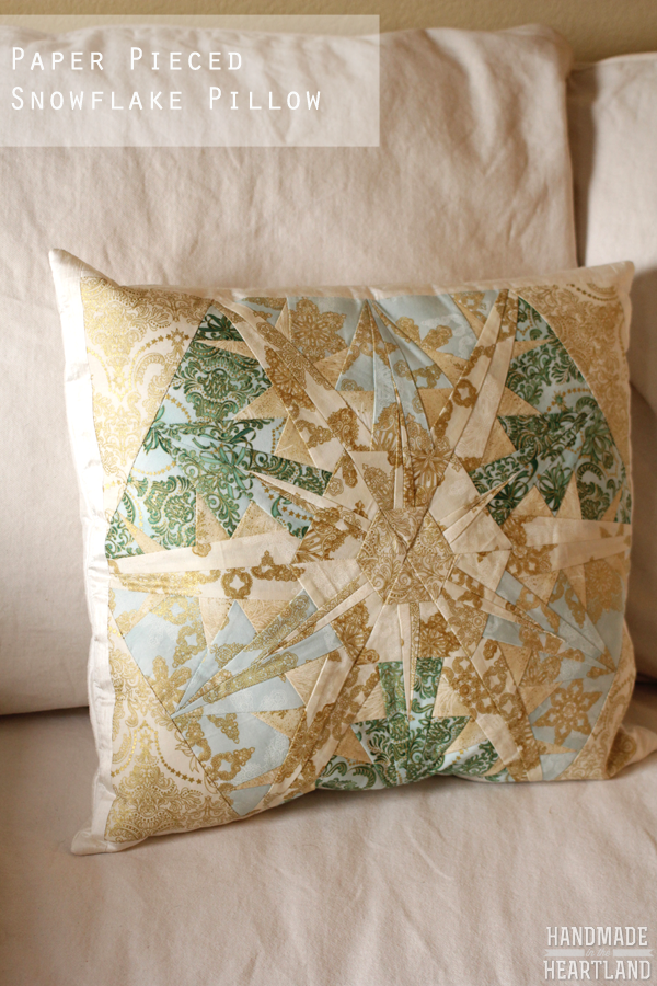 paper pieced snowflake pillow