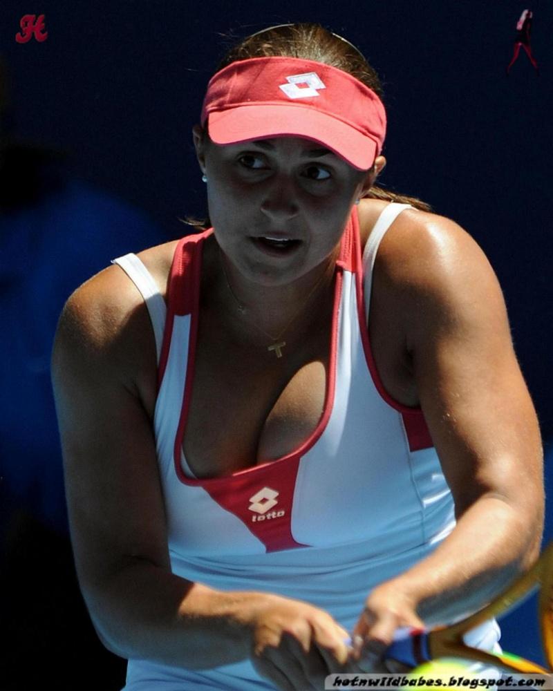 Busty tennis player