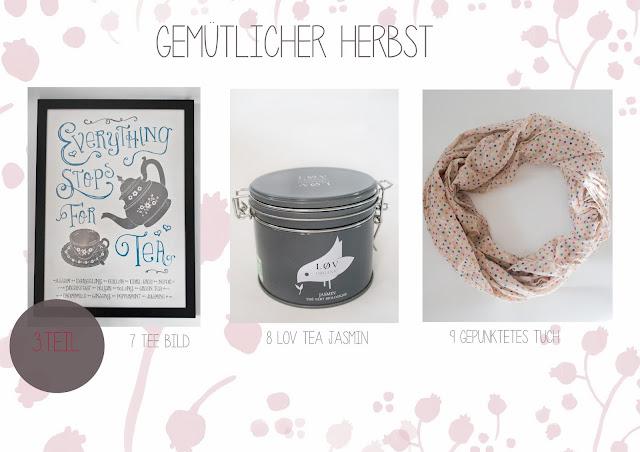 Gemütlicher Herbst, Herbstlieblinge, LOV Tea, gepunktetes Tuch, Teebild