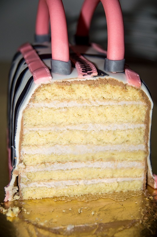 Purse bag fondant cake inside layers
