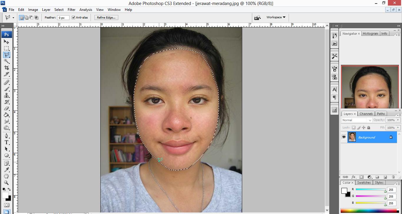 pic cara belajar how to create tutorial photoshop pemula membuat retouch wajah menghilangkan jerawat menghaluskan wajah kulit smoothing 3