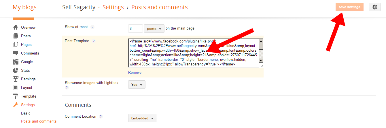 where to enter FACEBOOK LIKE code to your posts