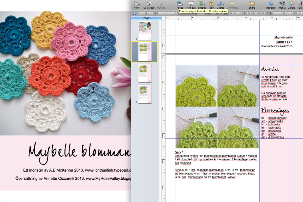 My rose valley translating patterns tonight i am translating the maybelle crochet flower pattern and the maybelle square pattern to swedish and at the same time i am making a pdf version bankloansurffo Images