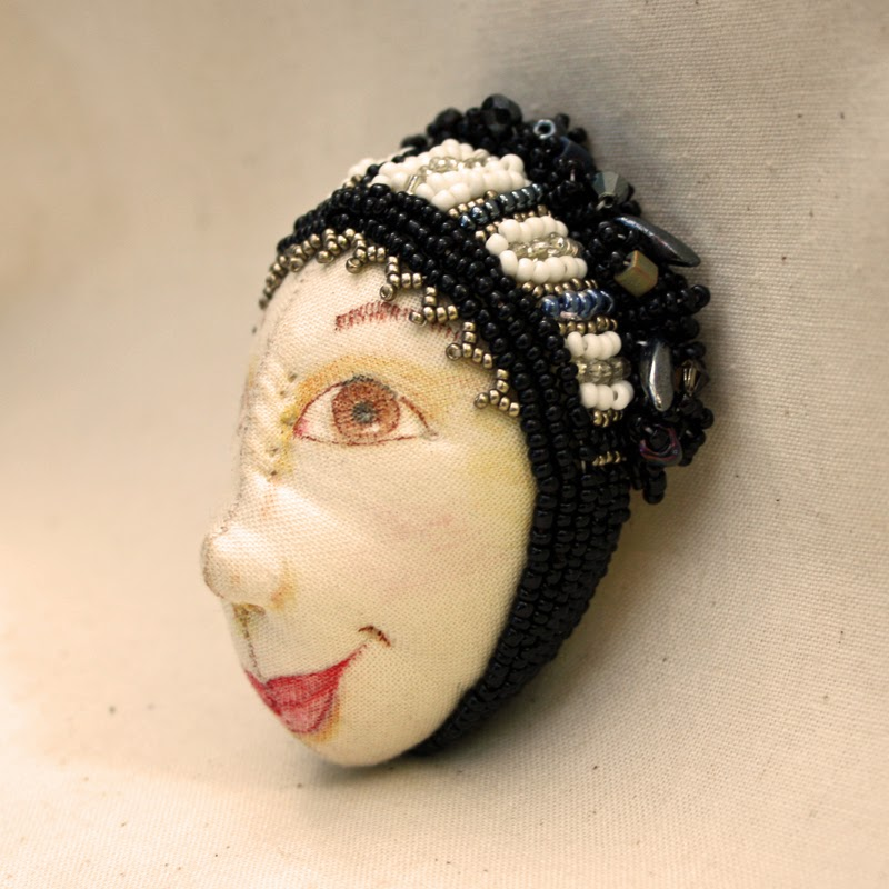art deco cloth doll face