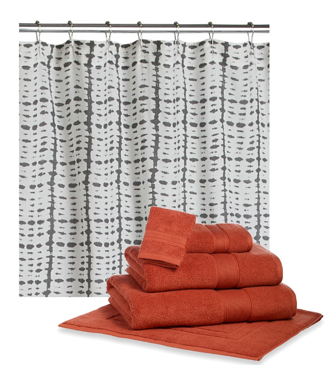 Turquoise And Orange Shower Curtain Abstract Art Shower Curtain - Gray and orange shower curtain
