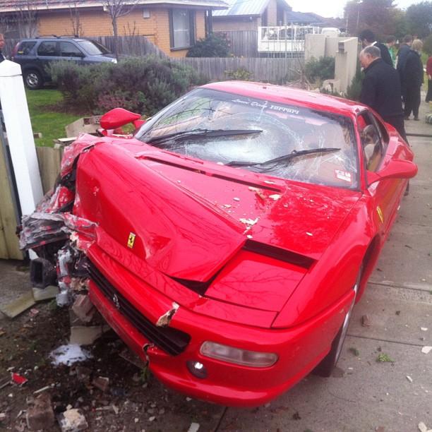 Ferrari F355 Berlinetta Crashes Into Garden Fence