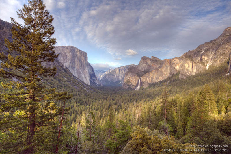 HDR Yosemite National Park Tunnel View valley landscape California