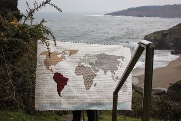 mapa del mundo en patchwork