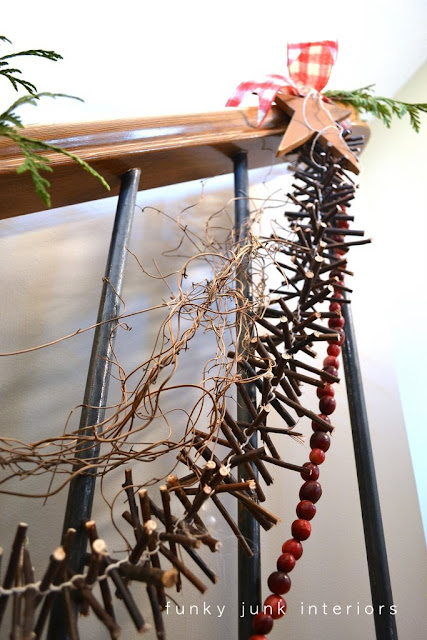 Twig garland with online and video tutorial, via Funky Junk Interiors