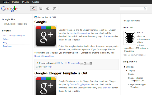 Googl Plus Design Blogger Template