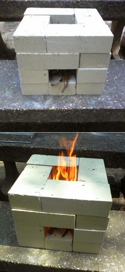 How to make a 16 brick rocket stove my favorite things for Jet stove diy