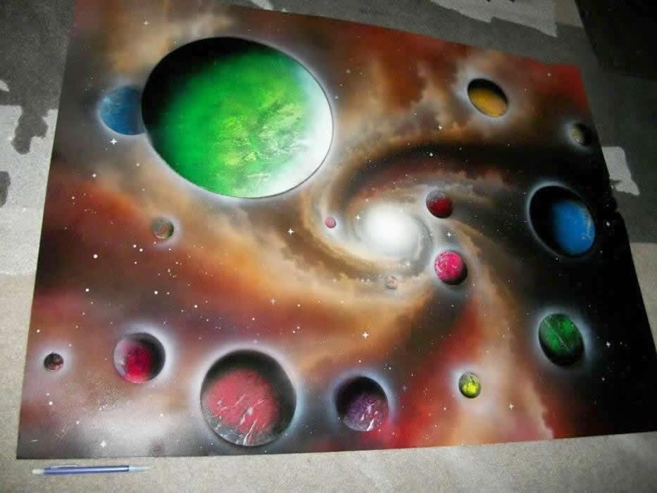 spray paint space art. Black Bedroom Furniture Sets. Home Design Ideas
