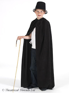 Black Hooded Halloween Cloak for kids from Theatrical Threads Ltd