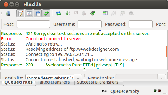 FTP Filezilla - 421 Sorry, cleartext sessions are not accepted on this server. [Resolved]
