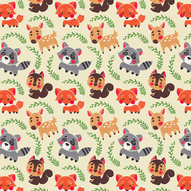 Happy Forest Friends Pattern Watercolor Illustration by Haidi Shabrina