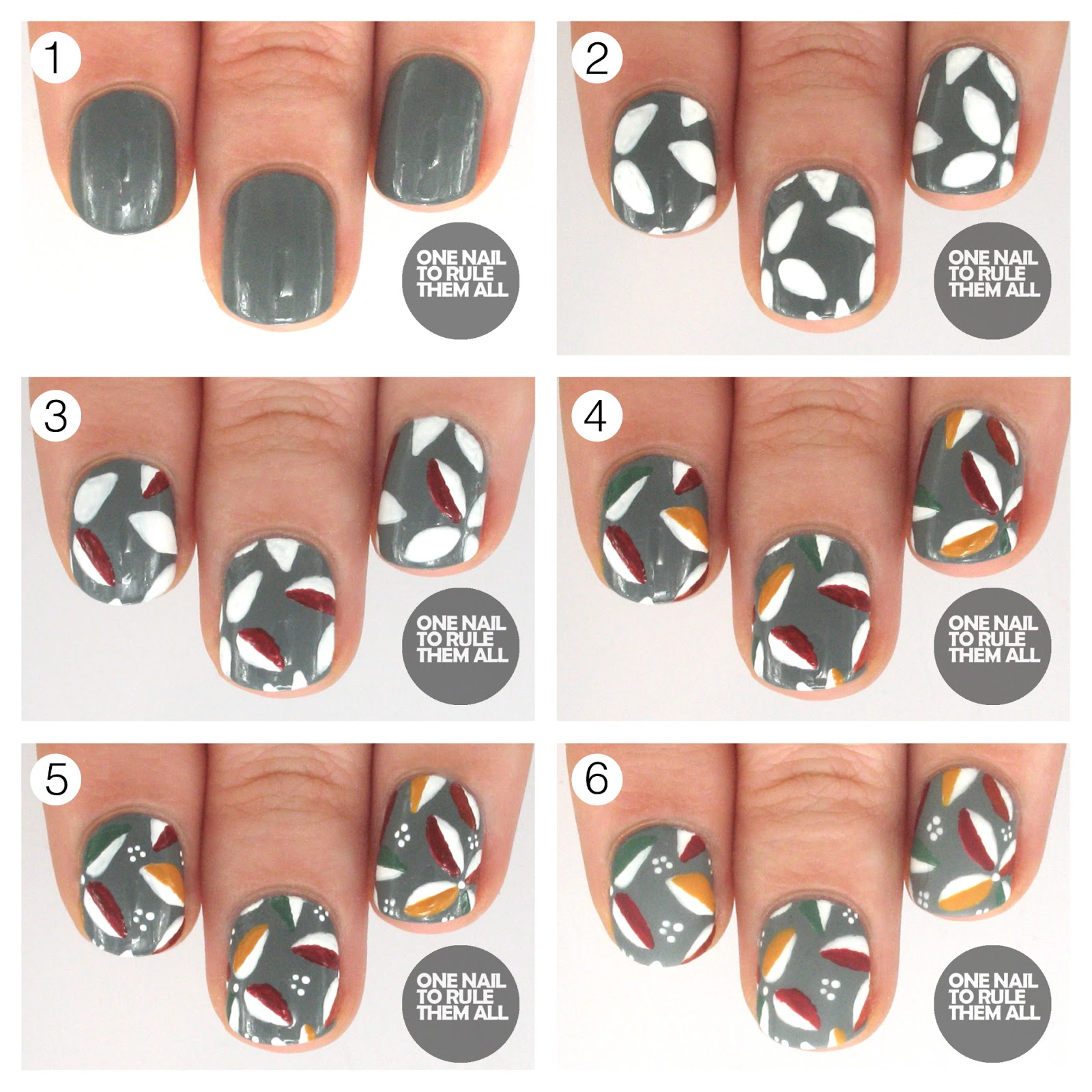 One Nail To Rule Them All Tutorial Floral Leaves For Barry M