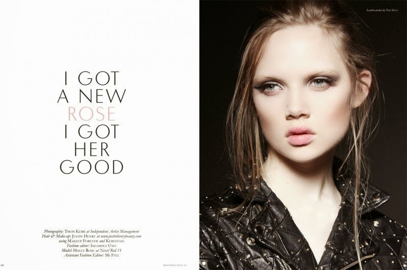 Ad Photoshoot : Holly Rose Photoshot For Thom Kerr BLK 2014 Premiere Issue