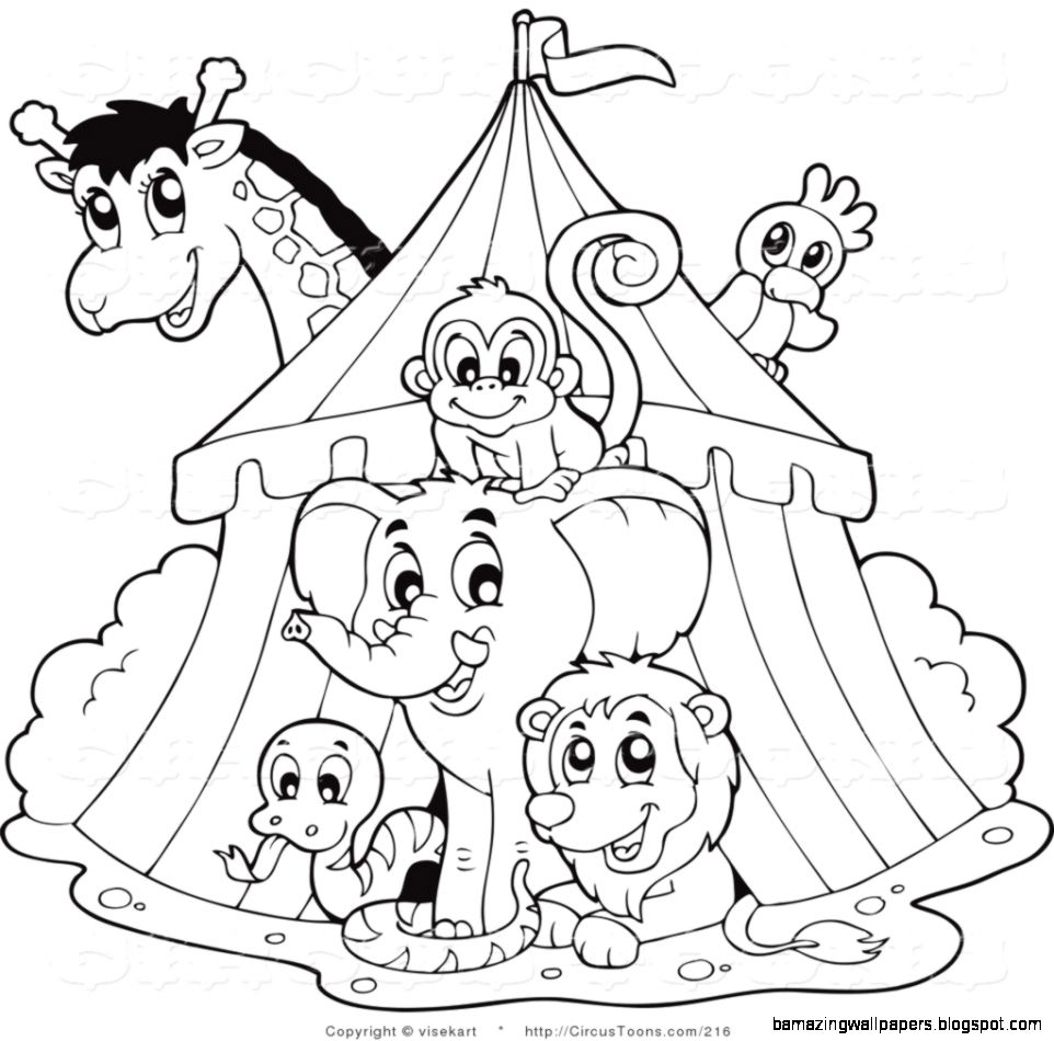 Circus Clipart of a Black and White Big Top Circus Tent and