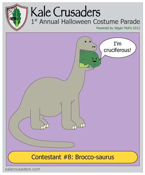 Contestant #8: Brocco-saurus, Brontosaurus, Kale Crusaders 1st Annual Halloween Costume Parade, Powered by Vegan MoFo 2012