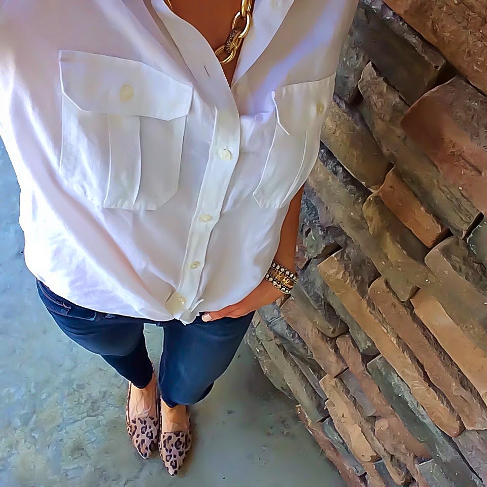 Express Original Fit Button Down Shirt, Mid Rise Jeans, Sole Society Leopard Flats