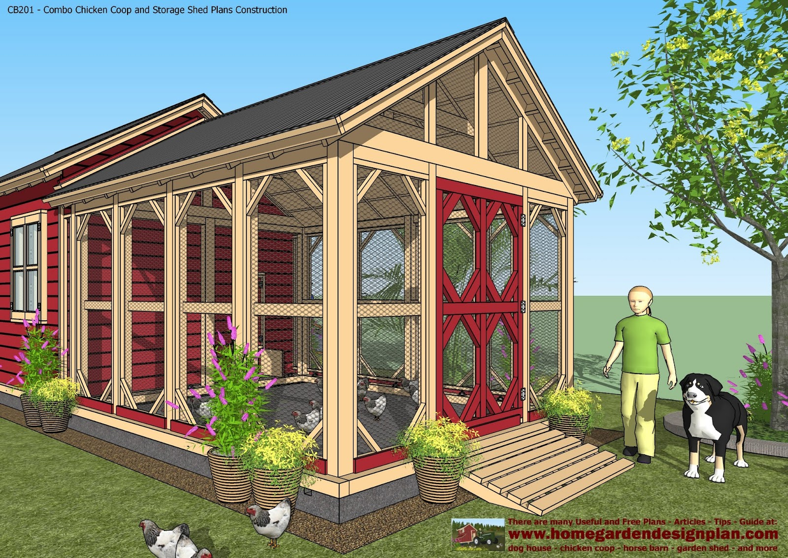 Shed plans colonial style cb201 combo plans chicken coop for Garden shed designs 5