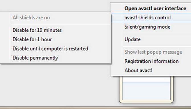 how do i temporarily disable my avast antivirus software