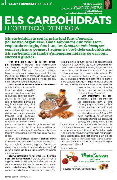 article de nutrició dels carbohidrats i l'obtenció d'energi