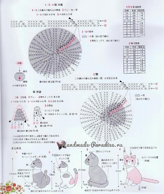 Вязание крючком по схеме котенка 147