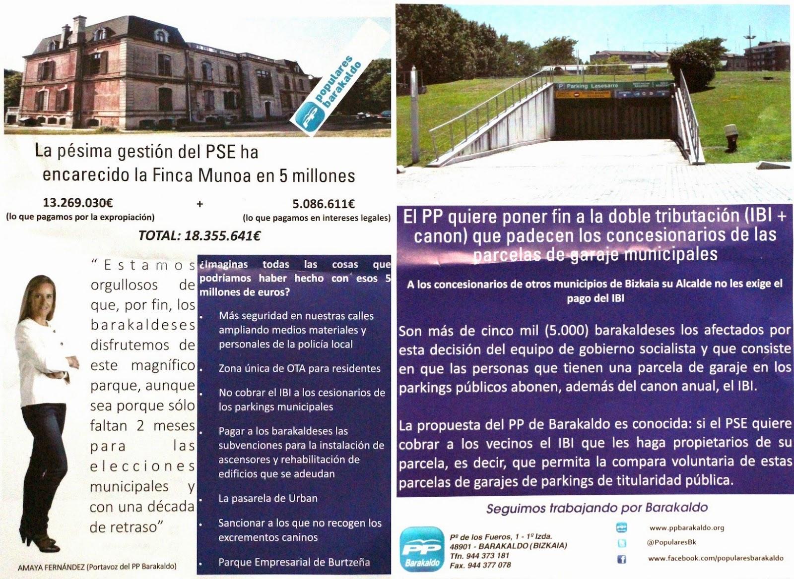 Folleto del PP sobre Munoa y el IBI