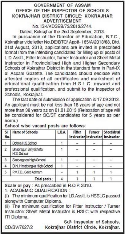 lda instructor in btc assam for secondary schools