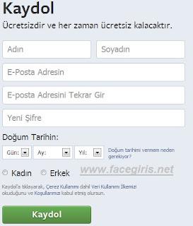 Facebook'a Kaydol
