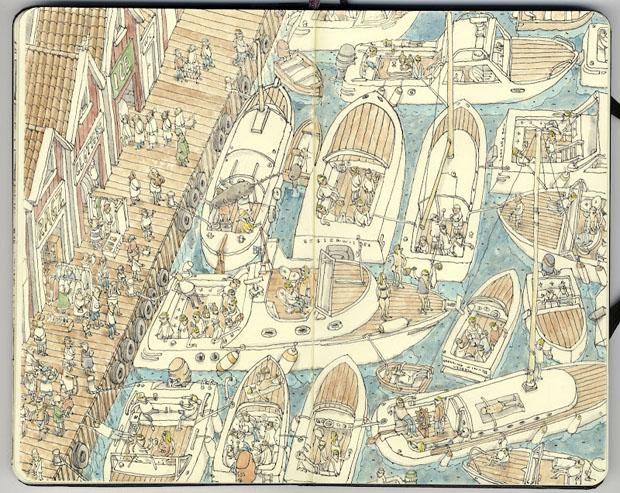 Mattias Adolfsson,dibujos,drawings,moleskine,suecia,sweden,puerto,port,barcos,ships