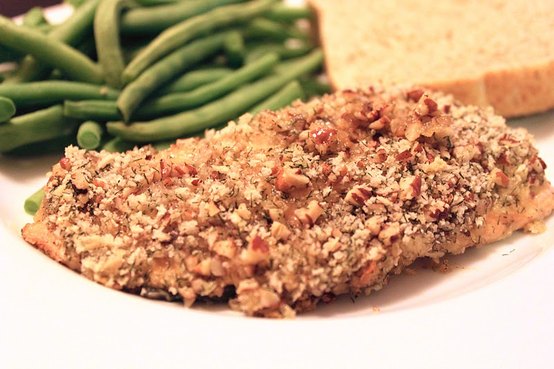 In the Pink and Green: Pecan-Crusted Dijon Salmon