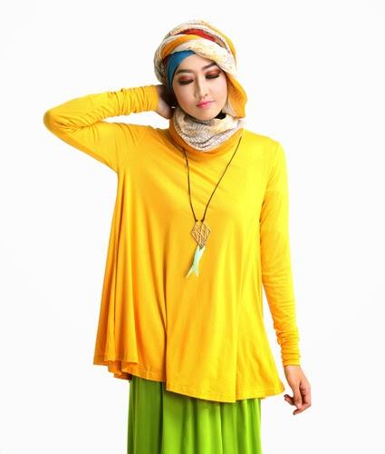 Baju muslim atasan trendy bahan kaos