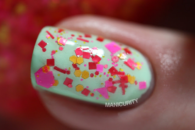 Manicurity | Trelly's M.I.S.C Polish Summer 2013 Collection - Flip Flops & Tank Tops over Sally Hansen Mint Sorbet