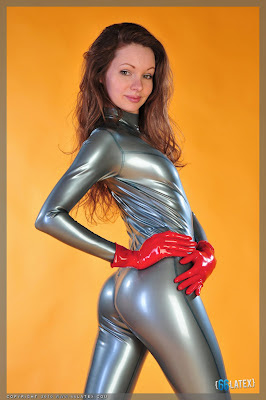 Amazing Ass in Metallic Latex Catsuit