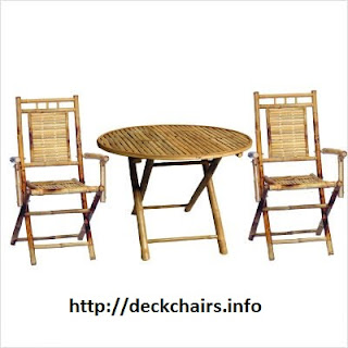 Cheap 3 Piece Bistro Set with Round Bamboo Table